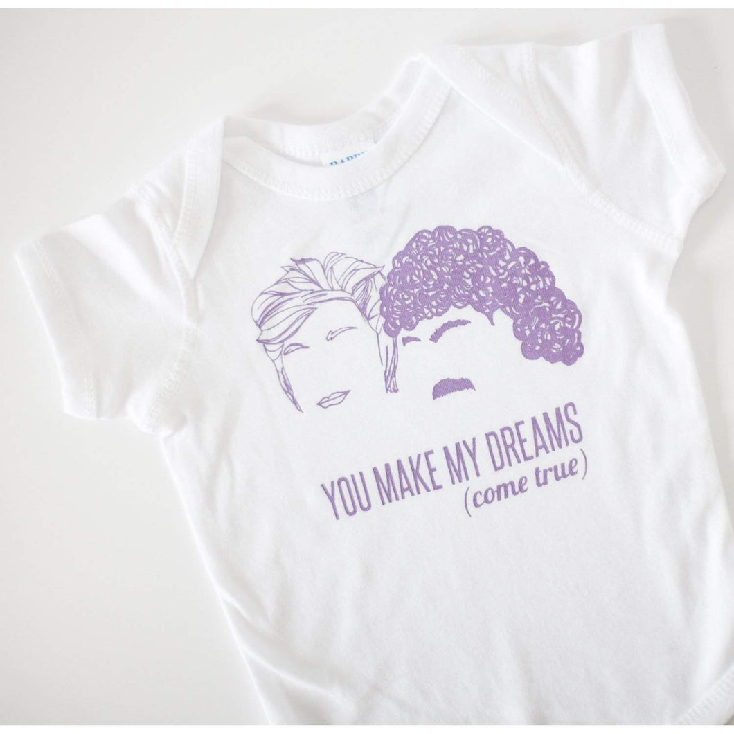 Hall and Oates baby tshirt, You Make My Dreams Come True logo