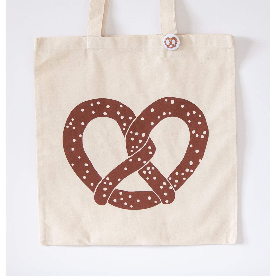 pretzel tote bag, philly pretzel tote bag by exit343design
