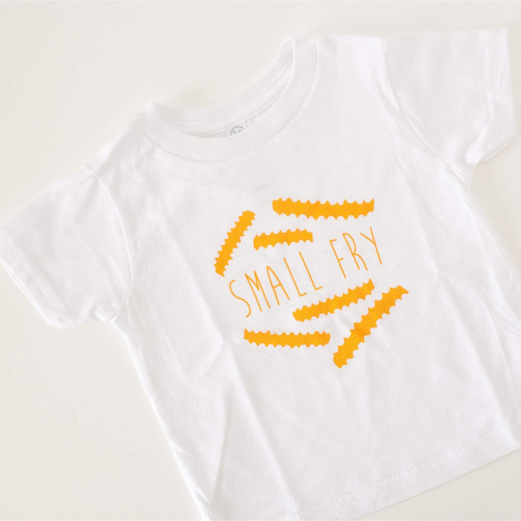 small fry toddler tee with yellow french fries on white shirt
