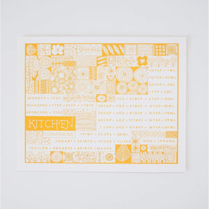 Pyrex and vintage inspired kitchen conversion art print in yellow, printed by exit343design