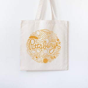 Pittsburgh tote bag, Pittsburgh icons gift, Pittsburgh Pennsylvania souvenir