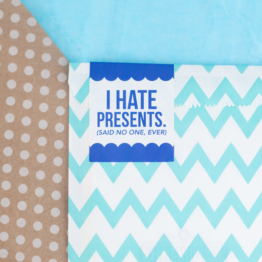 GIFT WRAP UPGRADE: SMALL ITEMS, Light Blue ZigZag