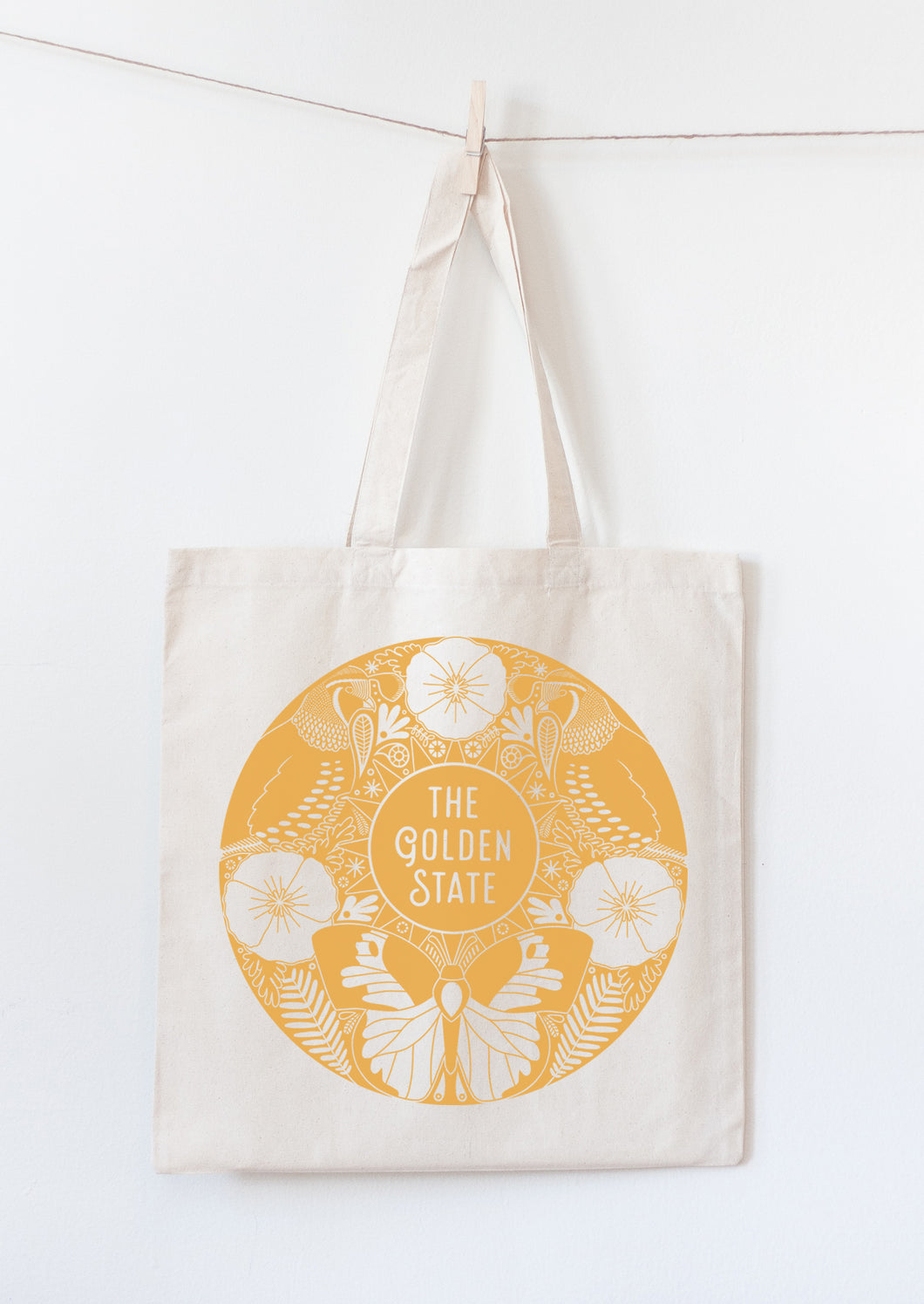 The Golden State tote bag with California state symbols