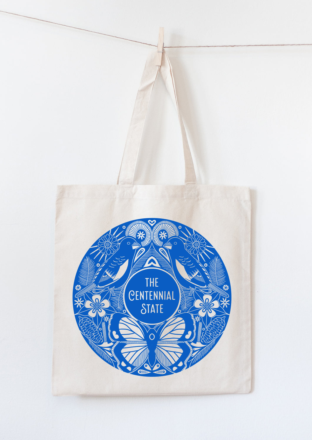 The Centennial State tote bag with Colorado symbols
