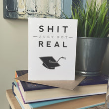 shit just got real funny graduation card by exit343design
