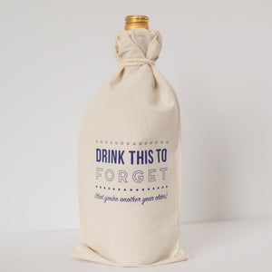 funny birthday gift bag, drink this to forget wine bag by exit343design