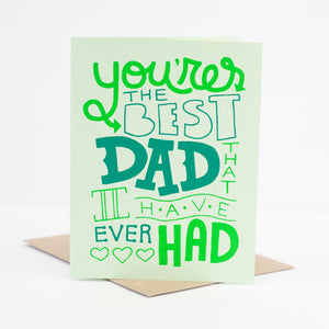 green Father's Day card with hand drawn type by exit343design