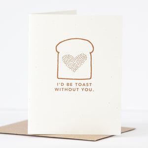 punny card, thank you card for friend, I'd be toast without you card