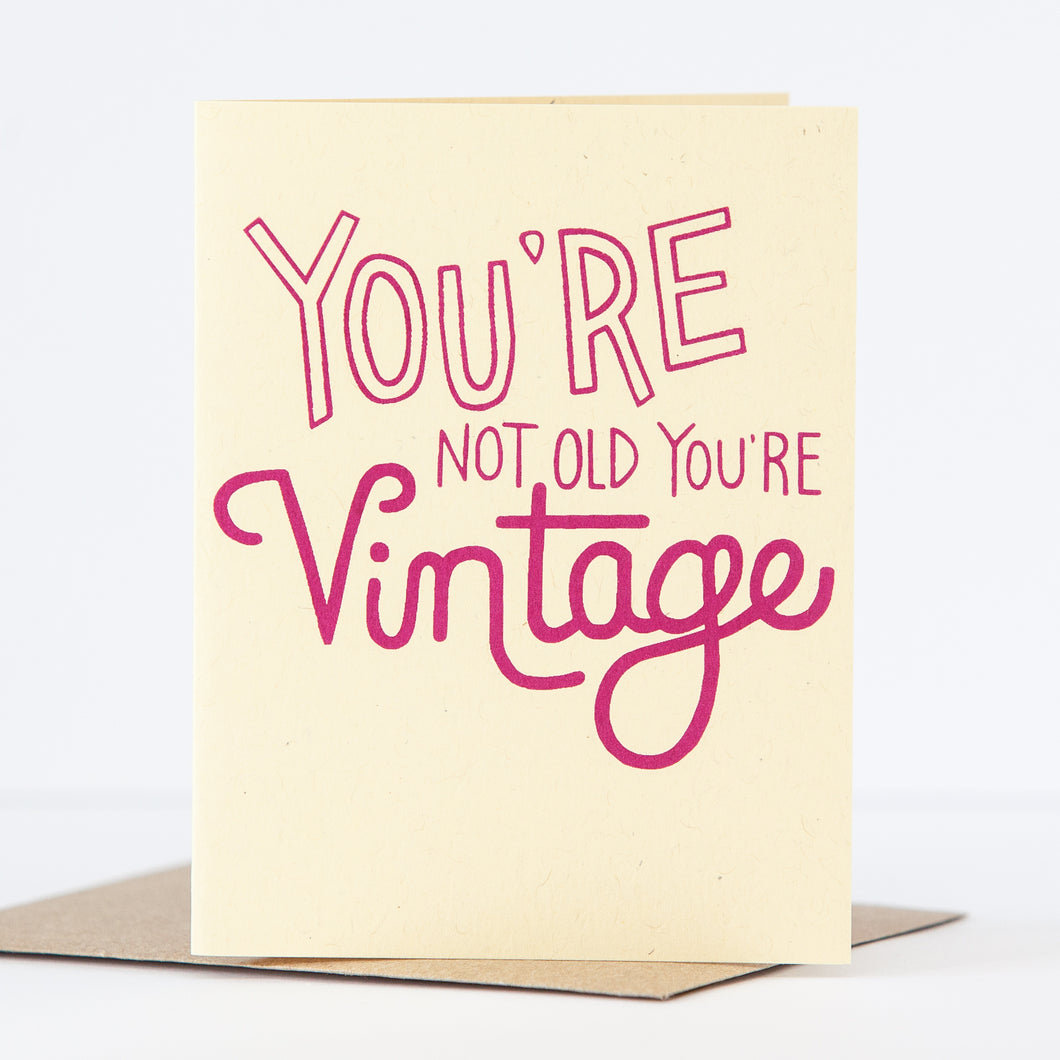 funny birthday card about being vintage not old by exit343design
