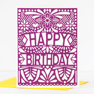 papel picado inspired birthday card in purple by exit343design
