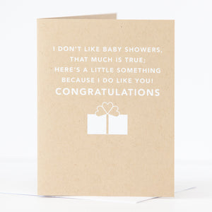 funny baby shower card for friend about disliking baby shower by exit343design