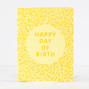 happy day of birthday silly birthday card in yellow by exit343design