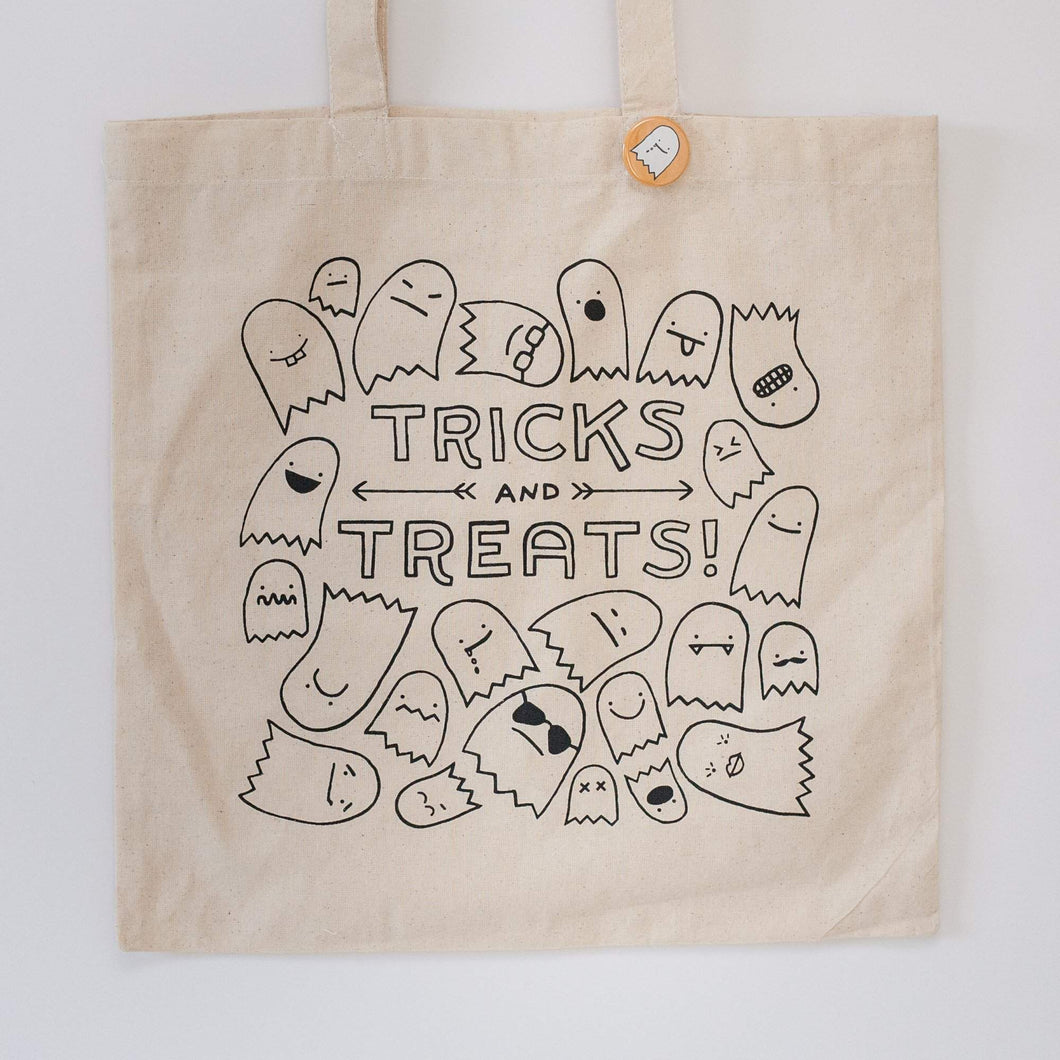 reusable Halloween trick or treat tote bag by exit343design
