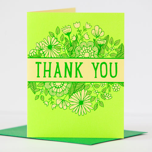 neon green thank you card by exit343design