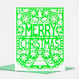 papel picado inspired Christmas card, colorful folk art Christmas card