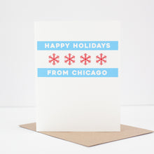 happy holidays from chicago, Chicago holiday card, Chicago flag card