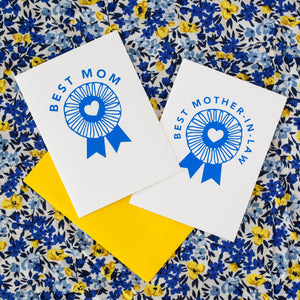 mother's day card, blue ribbon, best mother-in-law card