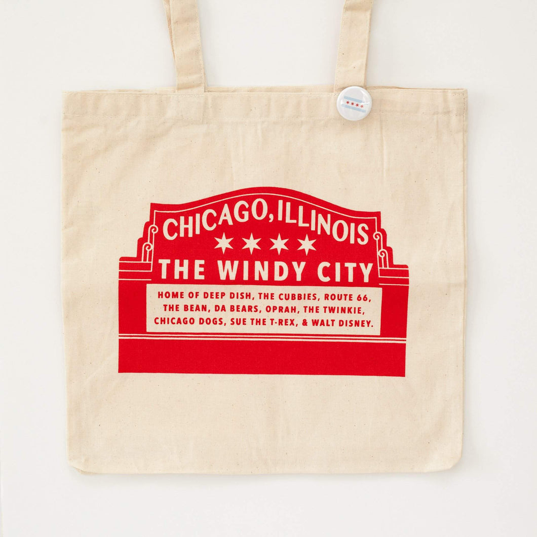 chicago tote bag, modified Wrigley Field tote bag by exit343design