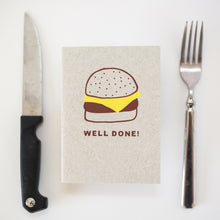 well done burger congratulations card, funny graduation card by exit343design