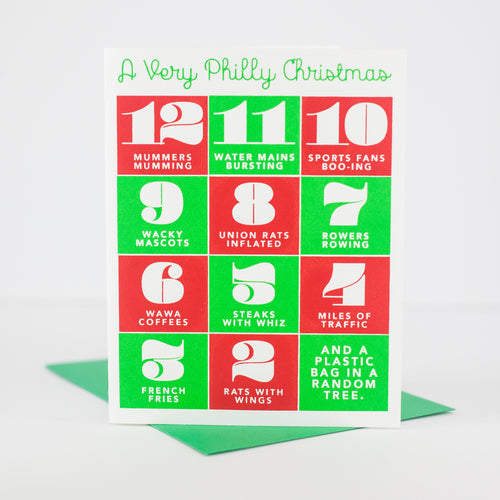 funny Philadelphia Christmas card, philly holiday card, 12 days of Philadelphia Christmas by exit343design
