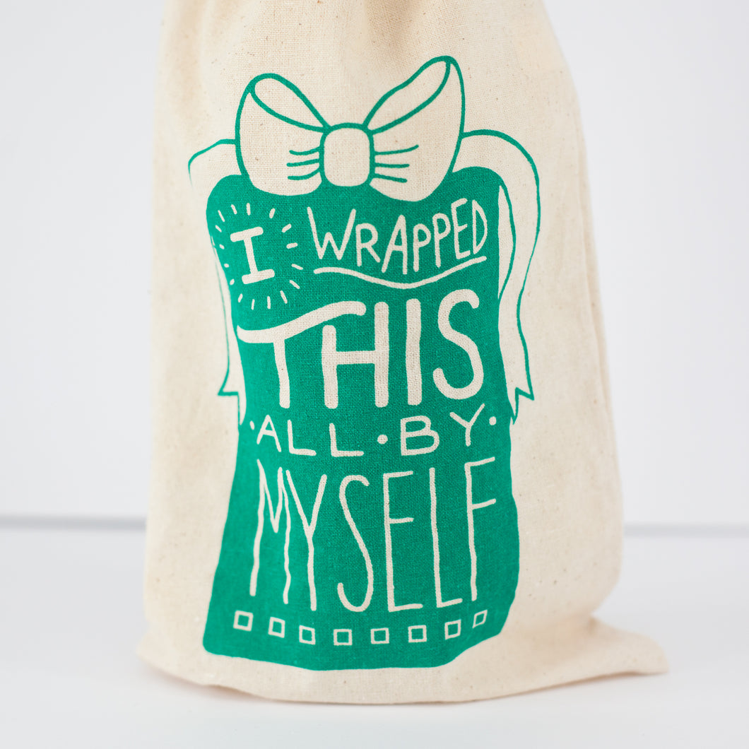 funny wine bag, birthday gift idea, easy holiday gift, I wrapped this myself booze bag