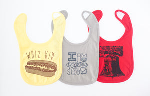 hand printed baby bibs by exit343design