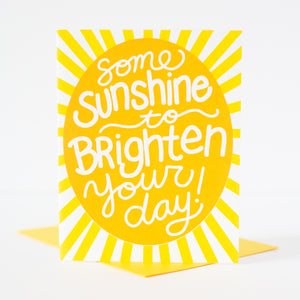 sending sunshine your way greeting card, upbeat sympathy card, positive sympathy card for friend, just because greeting card with sunshine