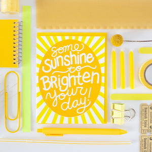 positive sympathy card for friend featuring a colorful yellow sunshine