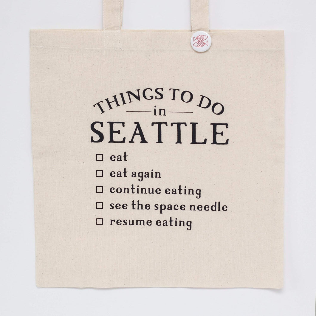 seattle tote bag, gift idea for a Seattle foodie by exit343design
