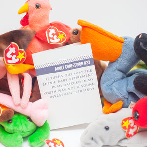 funny mother's day card, funny father's day card, adult confession card #23: beanie baby investment