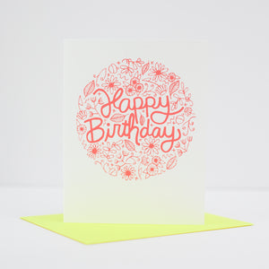floral birthday card with neon envelope by exit343design
