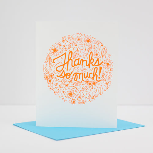 thank you card, floral thanks card, bridal shower thank you