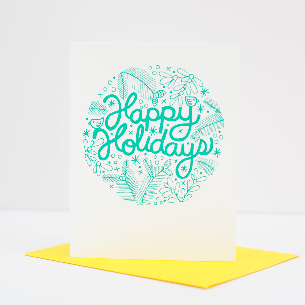 floral happy holidays card, blank greeting cards by exit343design