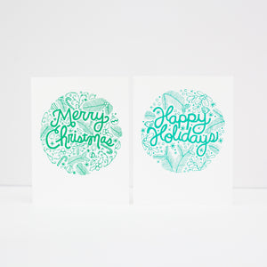 Merry Christmas card, Christmas card, illustrated holiday card
