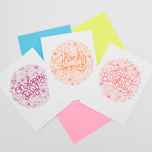 floral cards with neon envelopes by exit343design