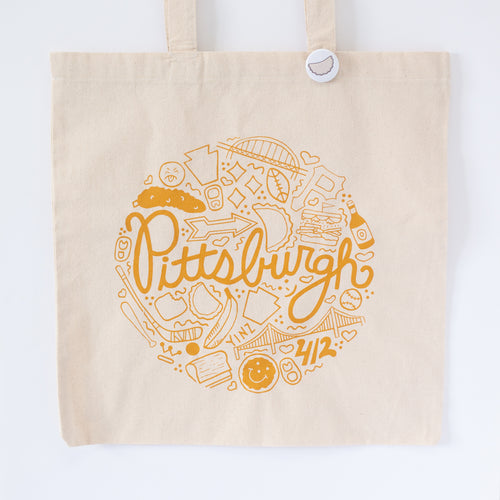 Pittsburgh tote bag featuring Pittsburgh icons by exit343design