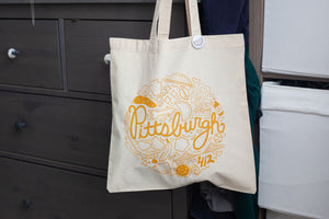 an original Pittsburgh souvenir tote bag by exit343design