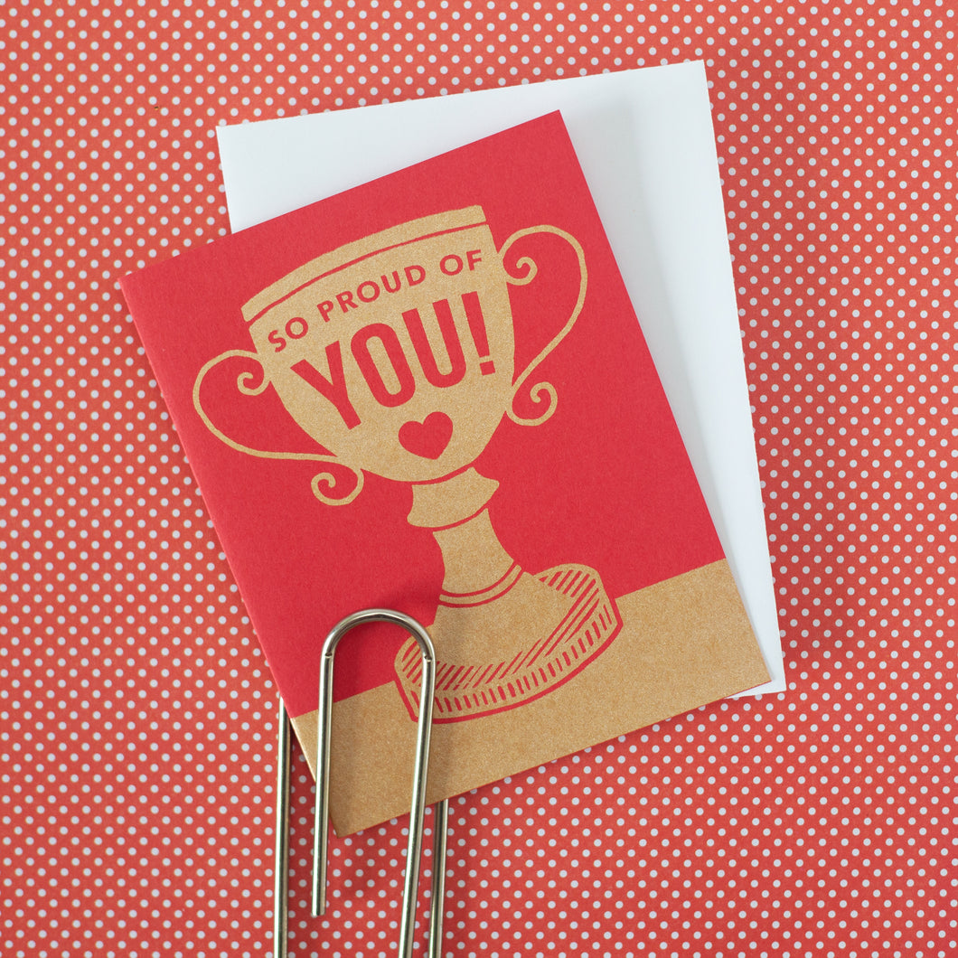 trophy congratulations card, so proud of you card for congrats