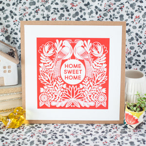 home sweet home folk art print for the home in red by exit343design