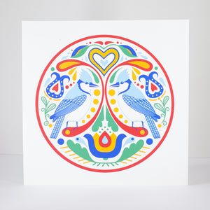 blue jay art print hex sign by exit343design