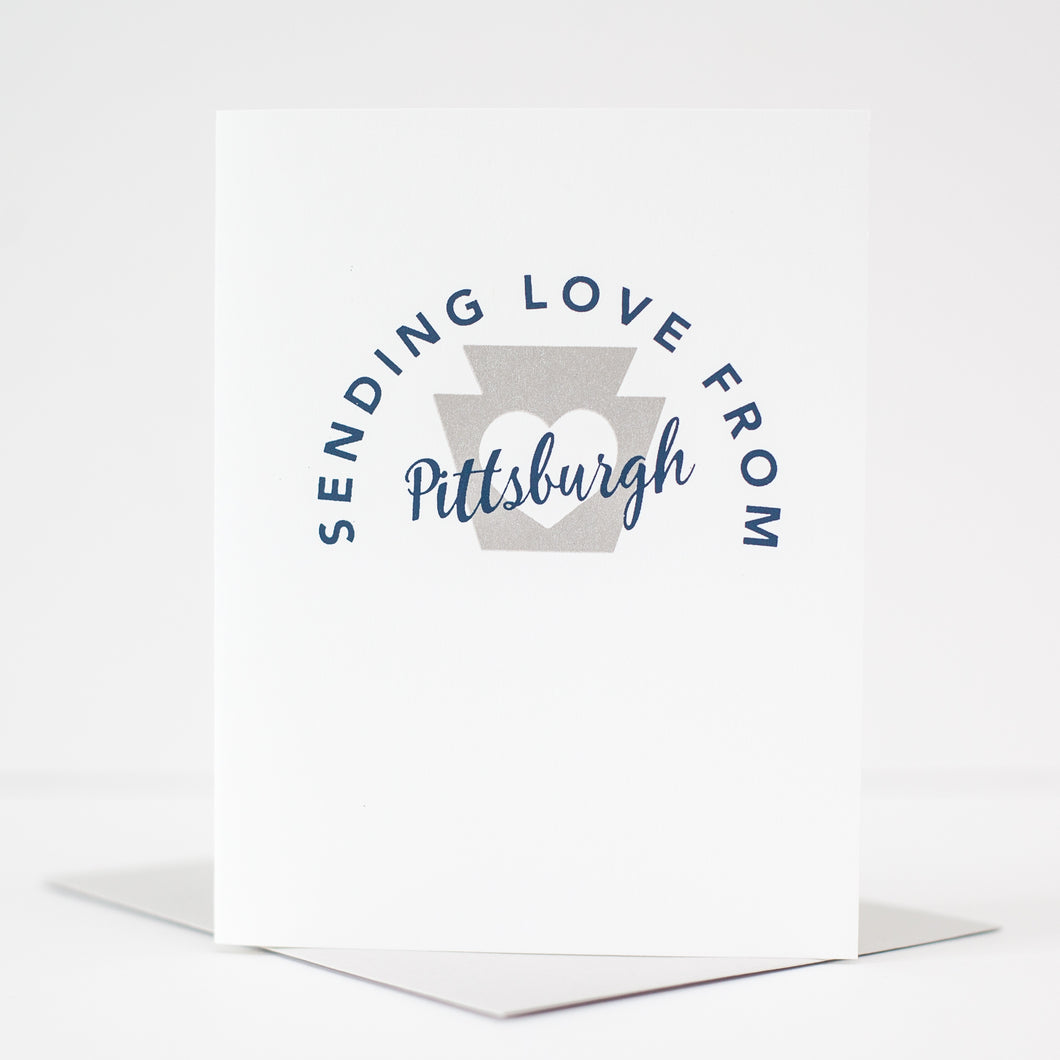 sending love from Pittsburgh greeting card by exit343design