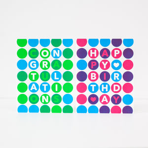 birthday card, polka dot birthday greeting card, neon birthday card