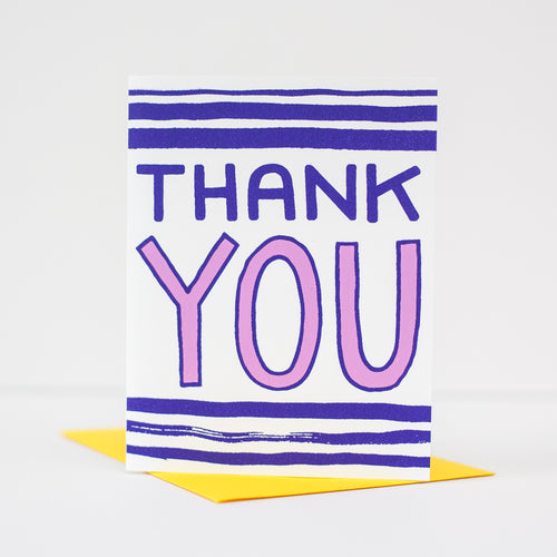 purple thank you card, blank thank you card