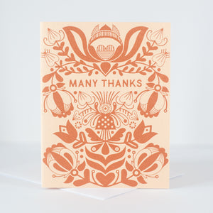 copper folk art thank you card, ornate thank you card