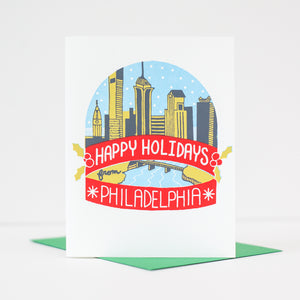 Philadelphia Christmas card, Philadelphia snow globe, holiday card