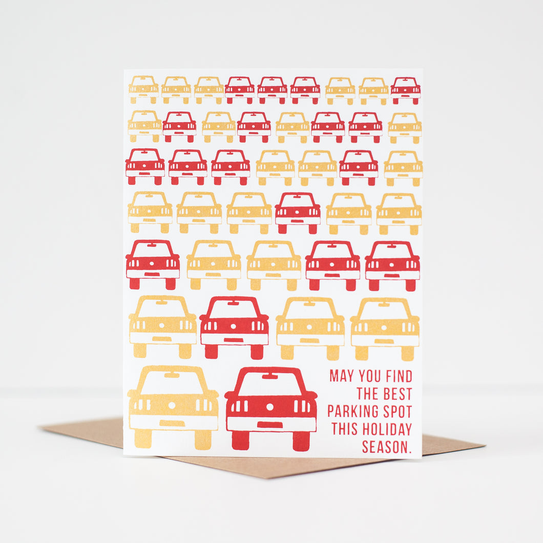 funny holiday card about getting the best parking spot by exit343design