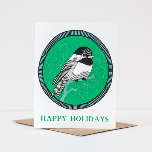 chickadee Christmas card, winter bird holiday card by exit343design