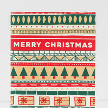 Merry Christmas patterned holiday card, blank holiday card