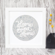 """home sweet home"" art print in silver on white paper by exit343design"