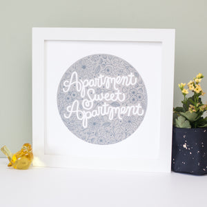 """apartment sweet apartment"" art print in silver ink on white paper by exit343design"
